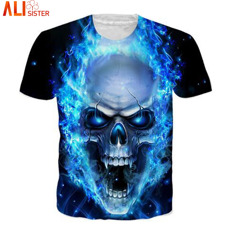 4c7642588f1 Alisister Blue Skull 3d T Shirt Punk Print Men s Summer Tees T Shirt Hip  Hop Brand Clothing Unisex Couple Tops Dropship-in T-Shirts from Men s  Clothing on ...