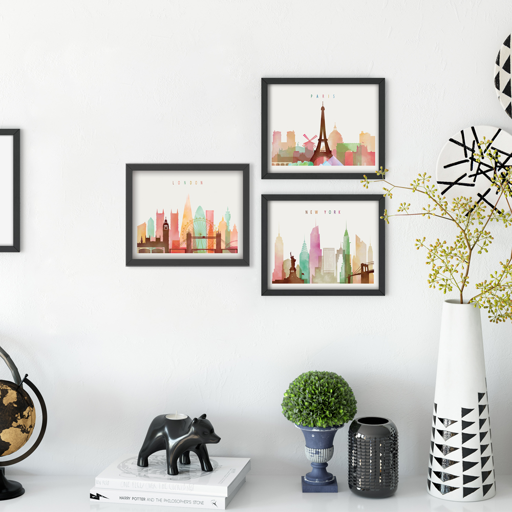 Elegant Poetry Watercolor Modern London New York Cityscape A4 Canvas Painting Art Print Poster Picture Wall Modern Home Decor in Painting Calligraphy from Home Garden