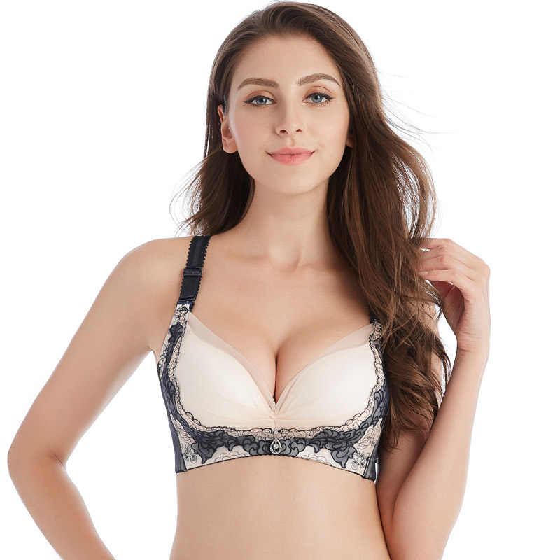 cd27ea4ab0762 Embroidery Bra Thick Cup Push Up Brassiere Lace Underwear Women Lingerie  Black Blue Beige