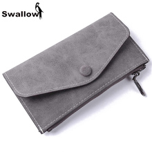 Swallow Scrub Matte Long Wallet Women Luxury Brand With 6 Card Holders Womens Wallets And Purses Leather Clutches Solid Zipper