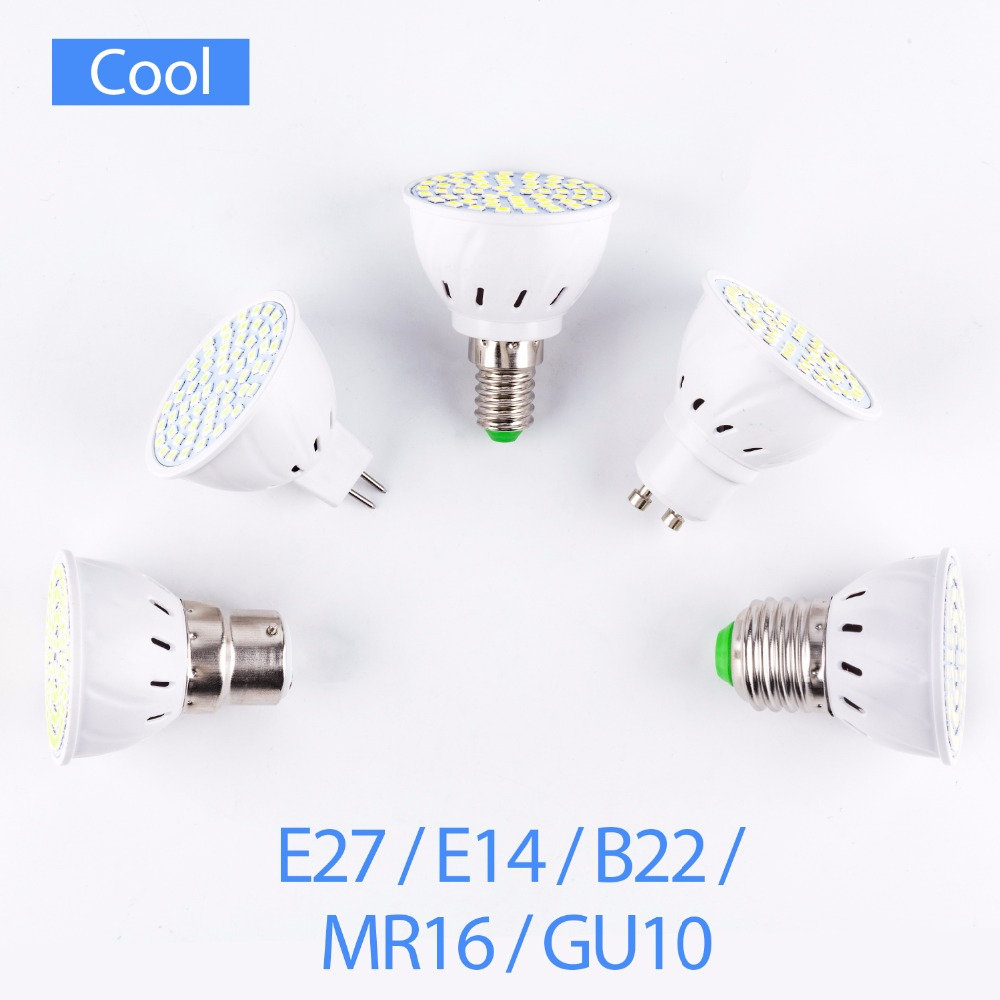 10PCS GU10 LED Spotlight Bulb E27 220V LED Plastic MR16 led GU5.3 Corn Lamp E14 home Energy saving Lighting SMD2835 B22 5W 7W 9W ...