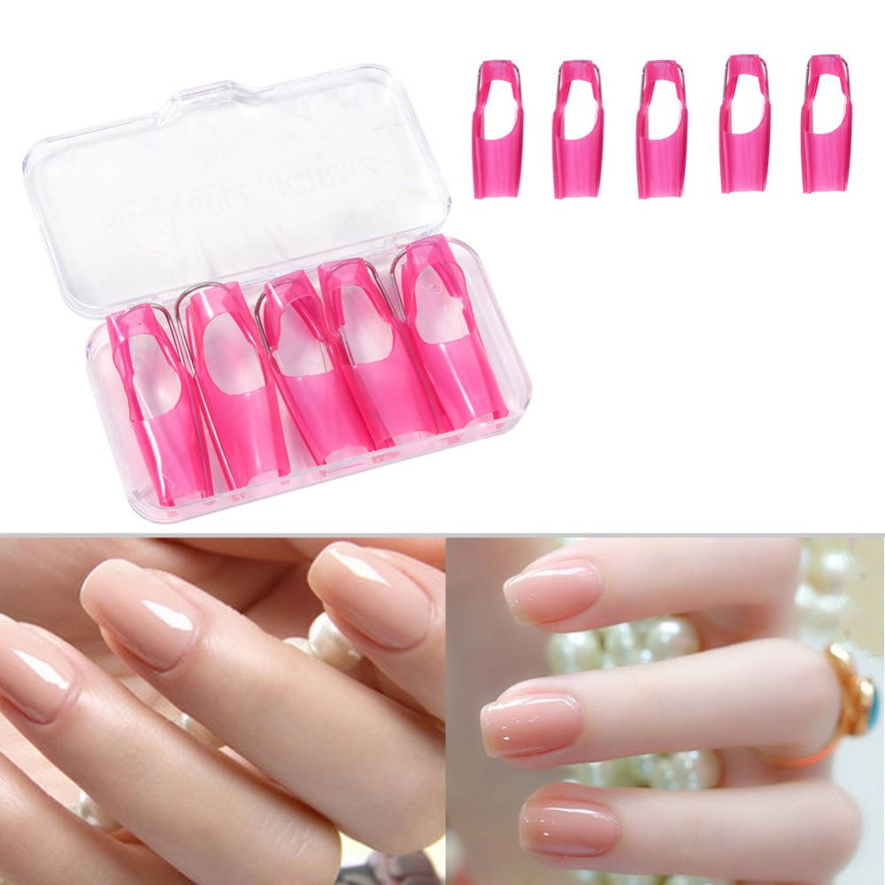 5pcs Lot Nail Form Manicure Protector Cover Tool Art Reusable Guide Acrylic Uv Gel Builder Tips Braces Support In Supports From