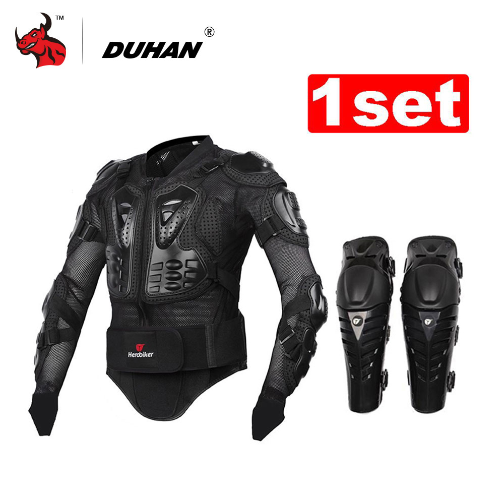 HEROBIKER Motorcycles Armor Protection Motocross Clothing Jacket+protective Motocycle Knee Pad Motorcycle Protection herobiker motorcycle jacket body armor motocross protective gear motocross off road racing vest moto armor vest black and white