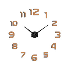 3D Large Wall Clock Modern Design  Number Mirror Sticker DIY Fashion Mute New Black Color Exquisite Gift