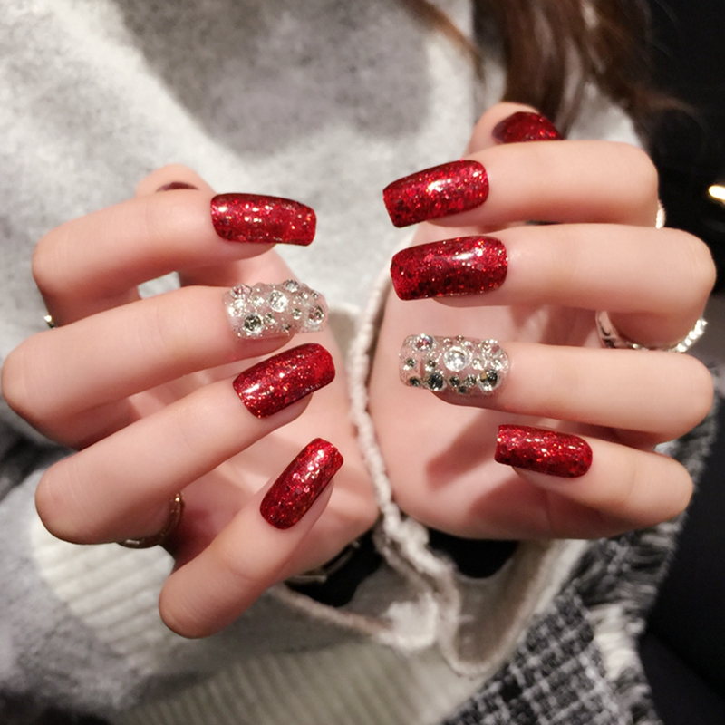 24pcs Sexy Red Glitter Paillette Fake Nails With White Clear