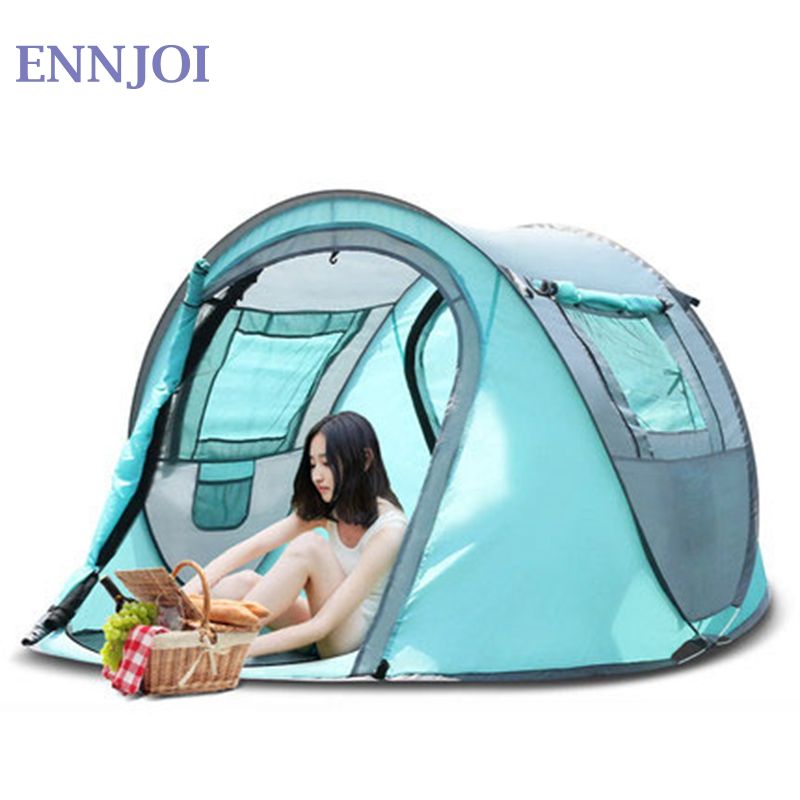 210D Oxford Cloth Large Space Camping Tent Outdoor 3-4Persons Automatic Speed Open Throwing Pop Up Waterproof Beach Tents outdoor camouflage cloth camping tent sun shelter simple tent windproof rainproof sunshade canopy waterproof cloth 3 3 m