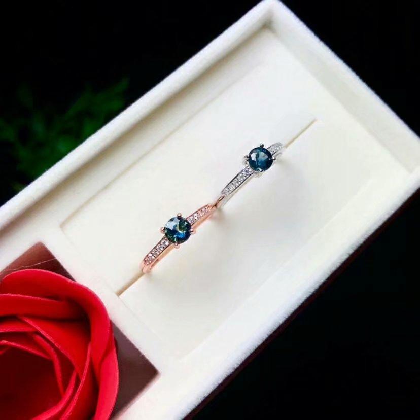 Shilovem 925 sterling silber echt Natürlichen saphir Ringe anhänger edlen Schmuck frauen hochzeit öffnen neue yhtz0404865agl - 3