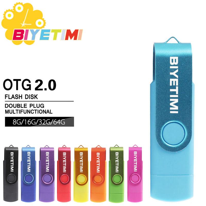 Biyetimi 9 צבעים במהירות גבוהה כונן הבזק מסוג USB OTG 64 gb כונן עט 8 gb 16 gb 32 gb Pendrive usb 2.0 מיקרו USB לטלפון חכם מקל