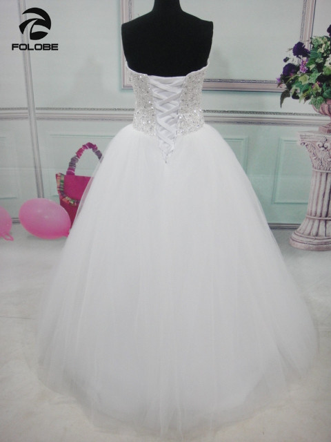 Vestidos De Noiva Princesa Stock White Ivory Strapless Beading Sequined  Crystal Ball Gown Tulle Wedding Dresses Robes De Mariage 417b94136350