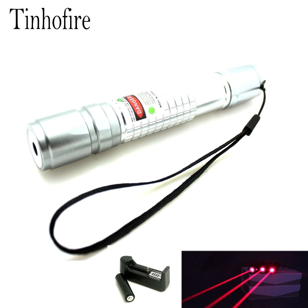 Tinhofire Check Laser Red 5mW 650nm Red Laser Pointer Pen Beam Light High Power Laser Lazer With 18650 Battery and Charger
