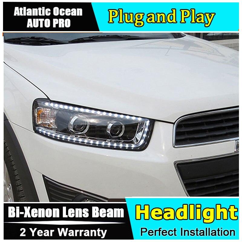 2012 2015 Car Styling for Chevrolet Captiva LED Headlights New Captiva led DRL Lens Double Beam HID KIT Xenon bi xenon lens