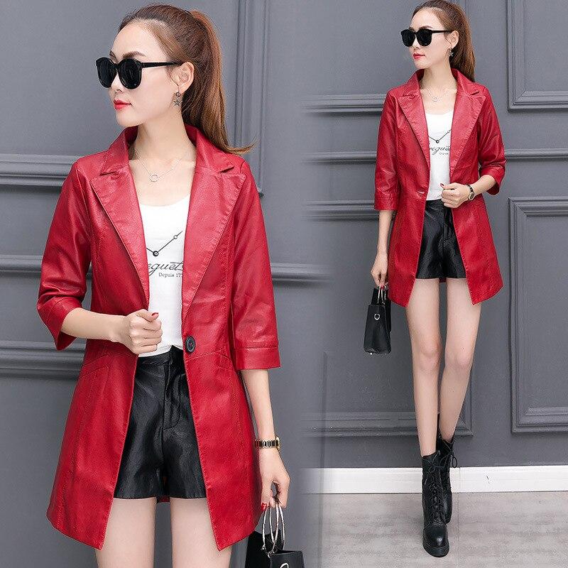 Fashion Plus Size M L XL XXL XXXL Women's   Leather   Coat Women 2017 Spring and Autumn Women's   Leather   Jacket 4 Colors