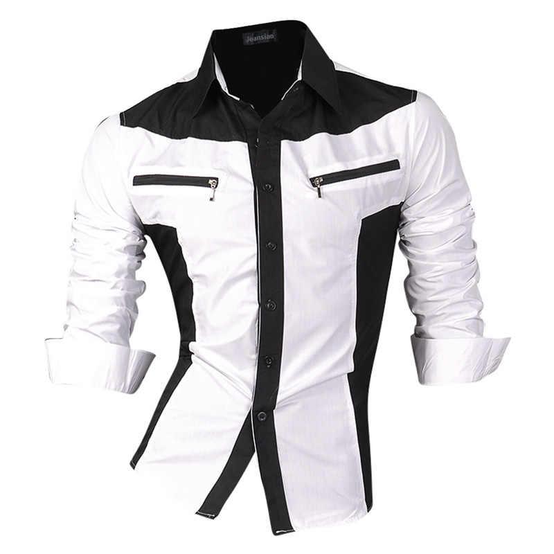 fe32323fc335ce1 ... 2019 Демисезонный Особенности рубашки Для мужчин повседневные джинсы  рубашка новое поступление с длинным рукавом Повседневное Slim ...
