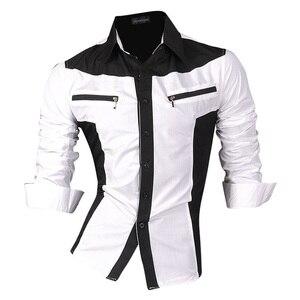 Image 4 - Jeansian chemises pour hommes, caractéristiques, printemps automne, décontracté chemise à manches longues, Slim Fit, fermeture éclair, décoration (sans poches) Z018