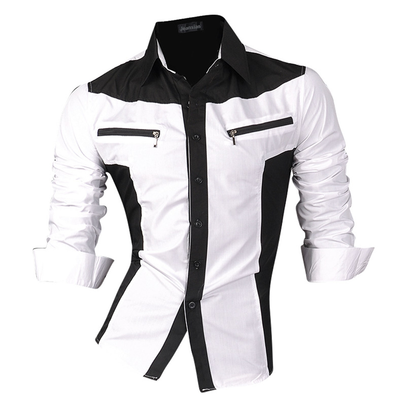 Image 4 - jeansian Spring Autumn Features Shirts Men Casual Shirt Long  Sleeve Slim Fit Male Shirts Zipper Decoration (No Pockets) Z018male  shirtshirt men casualshirt men