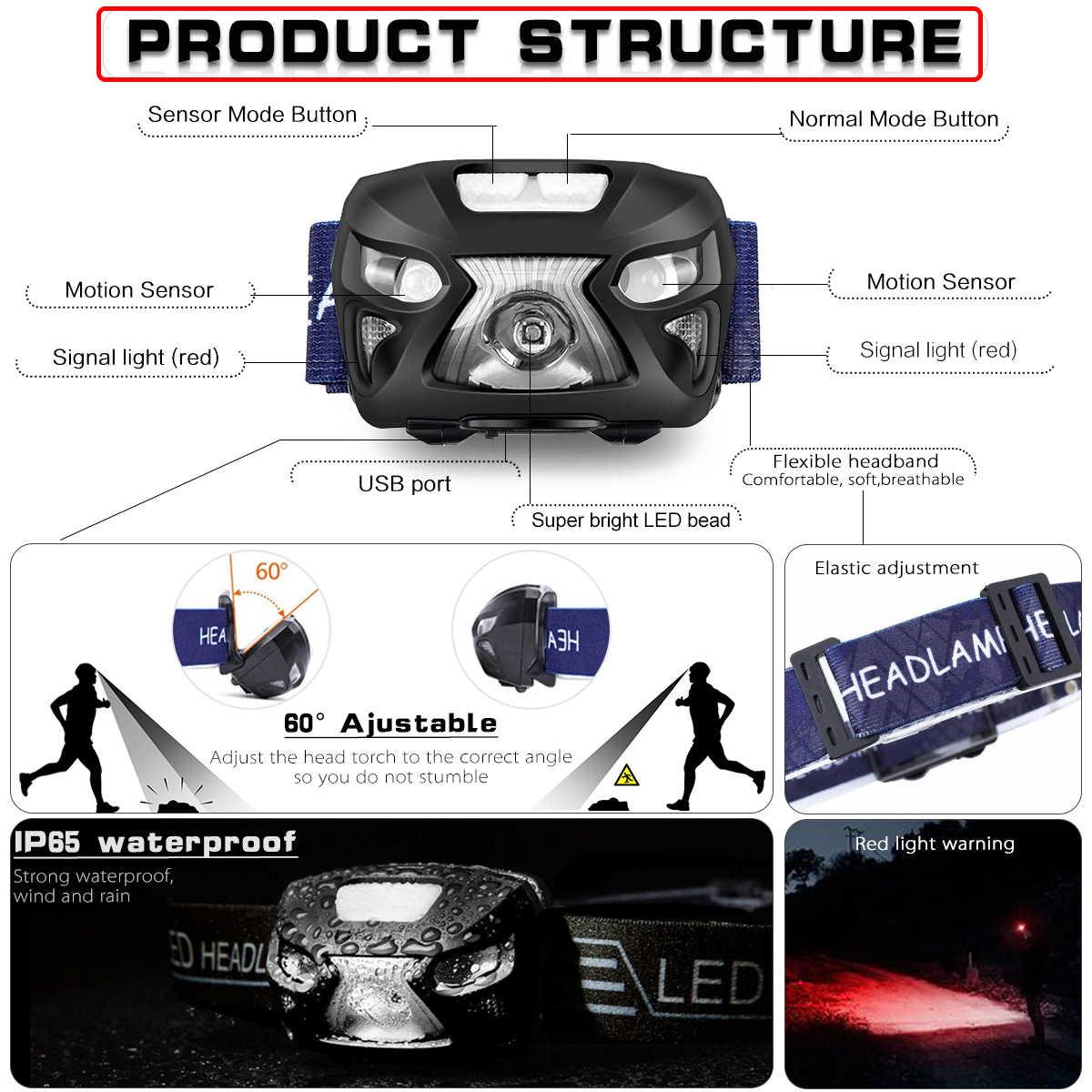 5000Lm puissant phare Rechargeable phare LED Camping torche lumière lampe corps capteur de mouvement tête lampe de poche avec USB