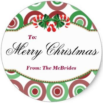1 5inch round christmas candy cane gift tag sticker in stationery