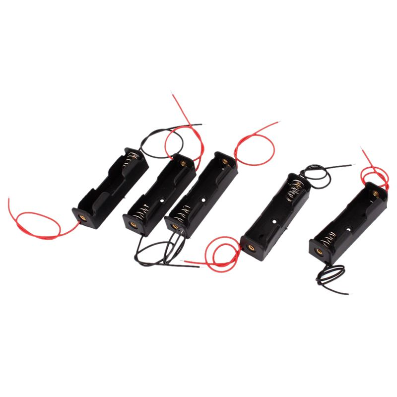 Hot!! 5Pieces 1 x 1.5V AA Dual Cable Battery Holder Plastic Case Storage Box Black + Red