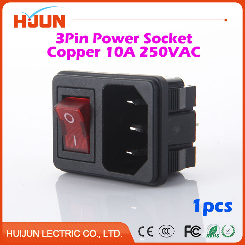 1Pcs High Quality 3 Pin Male Safe Power Socket Red Led Switch Copper Inlet Connector Plug 10A 250V AC Computer Apparatus 10pcs 3 pin iec320 c14 inlet module plug fuse switch male power socket 6a 250v 10a 125v red 4
