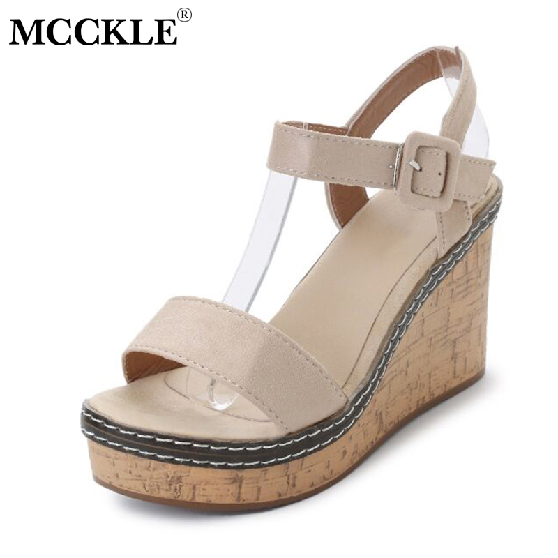 MCCKLE Women Summer Wedge Sandals Buckle Strap Platform Female Sandal Flock Sewing High Heels Casual Footwear Woman Shoes xiaying smile woman sandals shoes women pumps summer casual platform wedges heels buckle strap flock hollow rubber women shoes