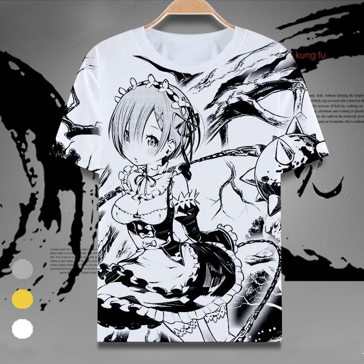 Re:Zero kara Hajimeru Isekai Seikatsu T-shirt Anime Rem Ram Emilia Cosplay T shirts Casual Tops women Men Tees New