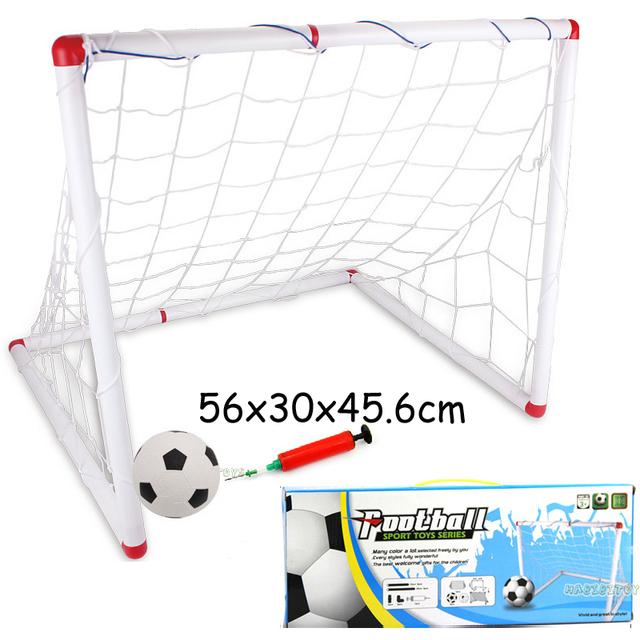 Gran tamaño de los niños de los muchachos niños deportes meta del fútbol del balompié niños puertas de fútbol juegos set cubierta Outdooor toy con red + bomba +