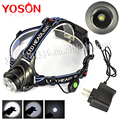 2000Lm XM-L XML T6 LED Adjustable Zoom Headlight Headlamp lantern Head Light linterna frontal led + AC Charger ,Wholesale