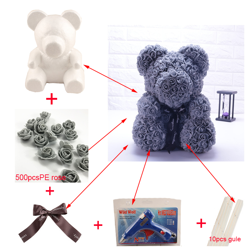 1PC 15cm/20cm/35cm DIY TOY Plastic Bear Roses Artificial Rose Flower Bear Luck Dog Mold Foam Rose Bear Mold