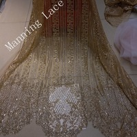 African embroidery lace with golden sparkle embroidery, special fabrics for party/host/guest clothing fabrics H 19201