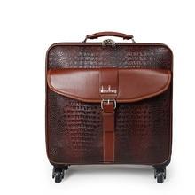 20″ 22″inch PU Trolley suitcase men luggage bags rolling spinner wheels Crocodile grain Pull Rod trunk Women Girl traveller Box