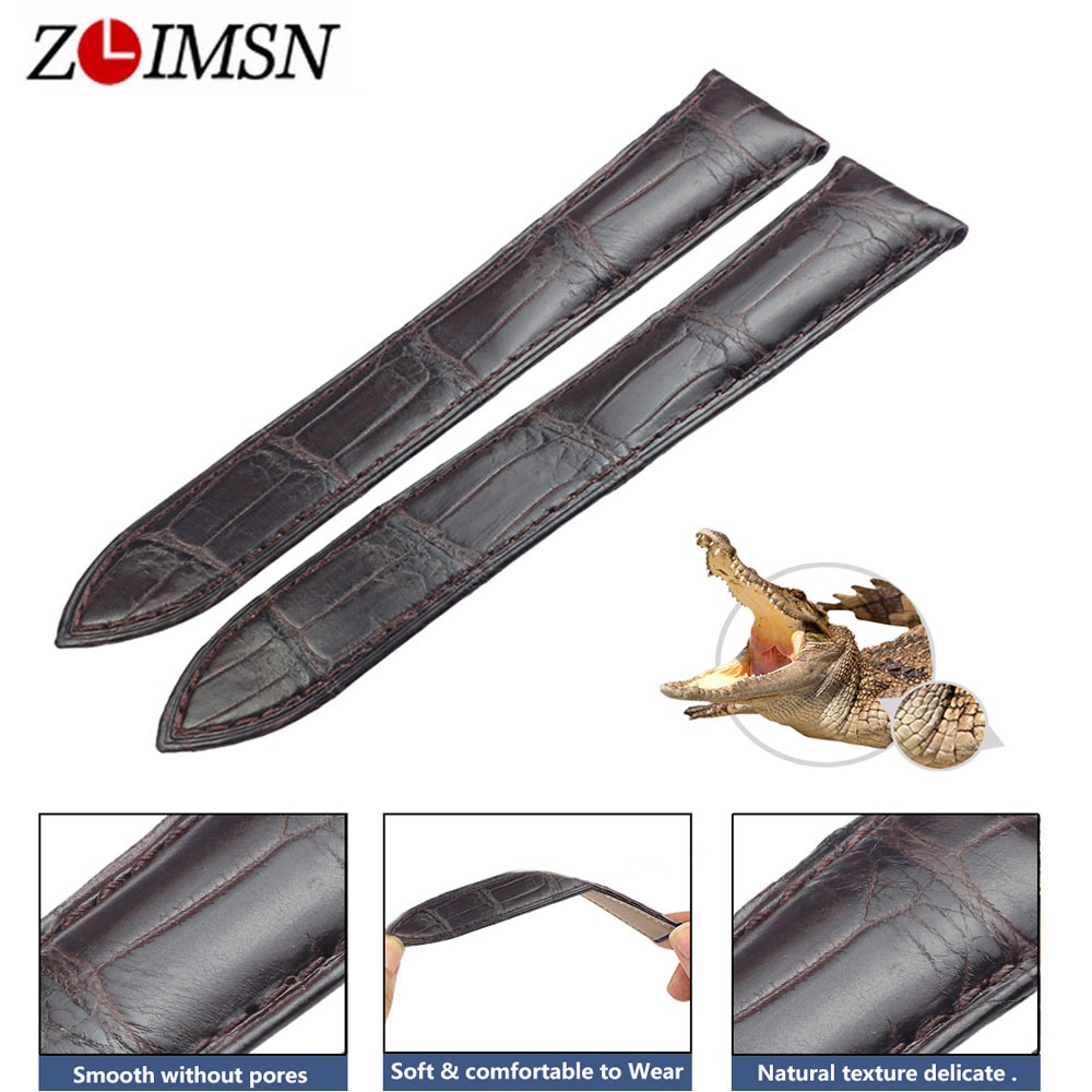 ZLIMSN New Brown Genuine Crocodile Belt 12mm-26mm Suitable For Butterfly Buckle Comfortable and Soft for Men and Women цены онлайн