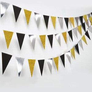 Image 1 - Праздничные золотые, серебряные, Треугольные флаги, подвесные украшения, блестящие, золотые, треугольные, для детских дней рождения, украшения для стен с цветами
