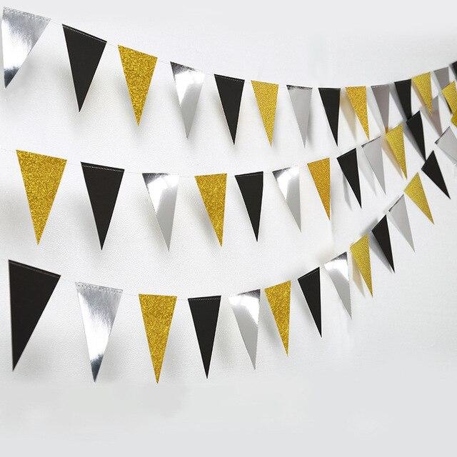 Праздничные золотые, серебряные, Треугольные флаги, подвесные украшения, блестящие, золотые, треугольные, для детских дней рождения, украшения для стен с цветами