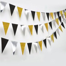 Party holiday gold silver  triangle flag hanging ornaments flash golden triangle baby birthday party pull flower wall decoration