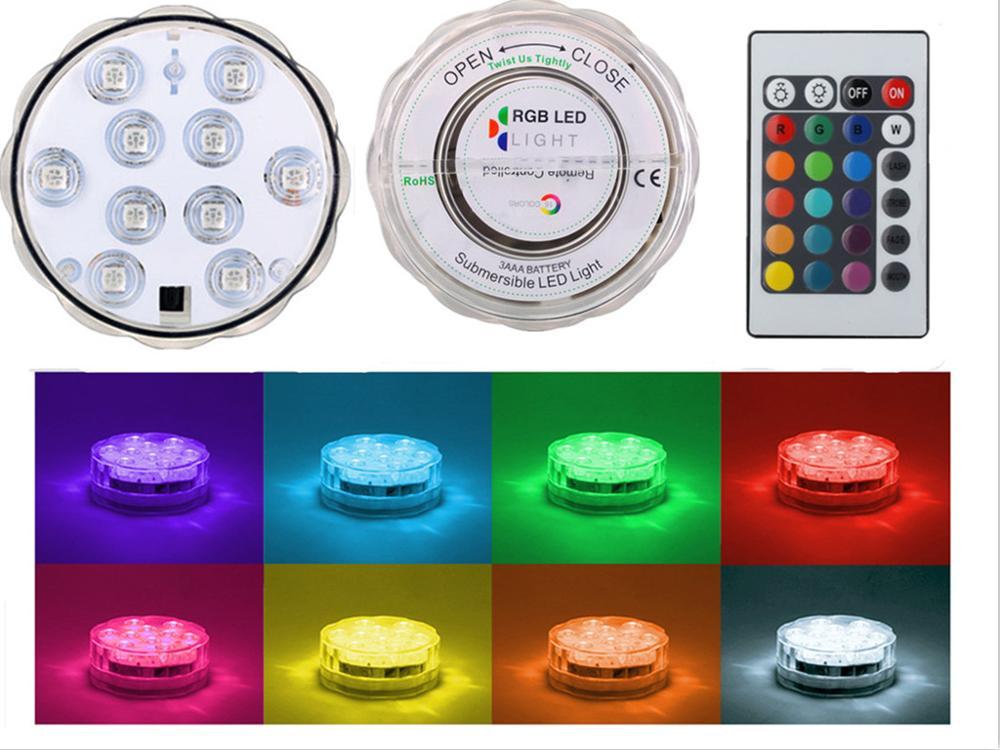 1pc * 10 LED RGB i papërshkueshëm nga uji Dasma e papërshkueshme nga uji Dasma bazë e dritës bazë nën dritën shishka nargjile + ndryshimin e ngjyrave 24keys Remote
