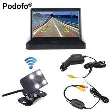 Podofo 4.3 »Беспроводной заднего вида Системы складной ЖК-дисплей автомобиля обратный заднего Мониторы + автомобиля резервную HD Обратный сзади фотокамеры