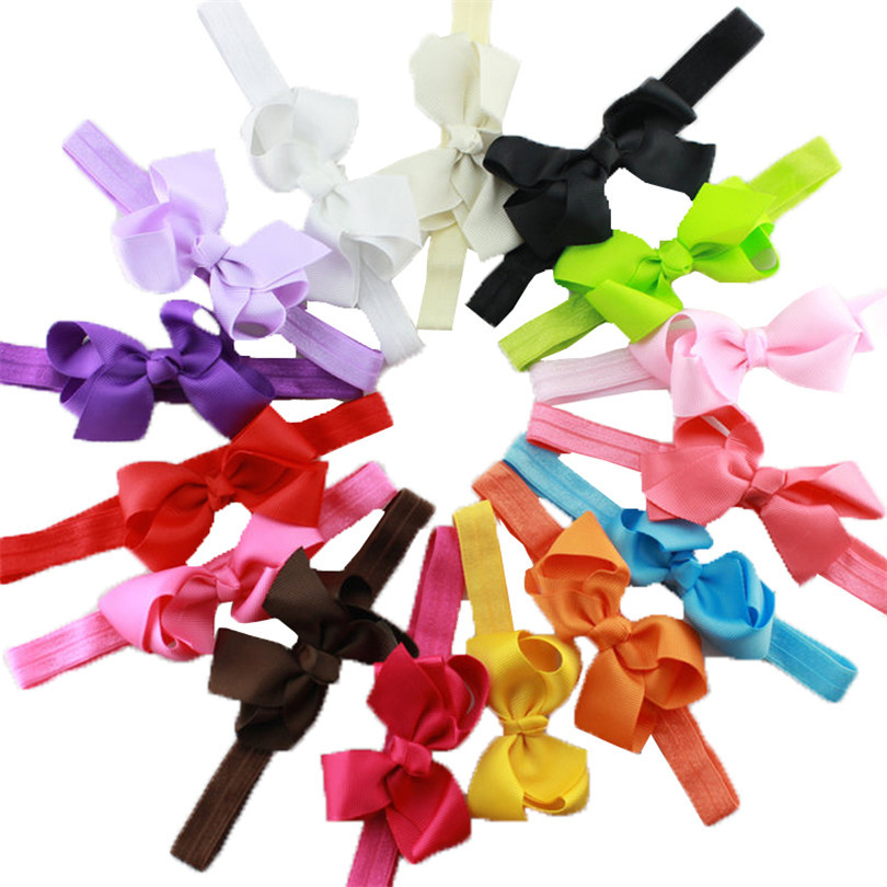 15pcs/set Infant Girls Headband Head Wraps Elastic Bands Grosgrain Hair Ribbon Bow Tiara Baby Headbands Hair Accessories
