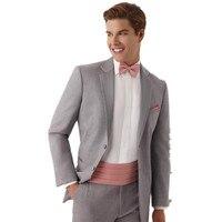 Последние высокого качества Для мужчин костюм свадебный обычай серый узкий Нотч свадебные Смокинги для женихов для Для мужчин Жених Костюм