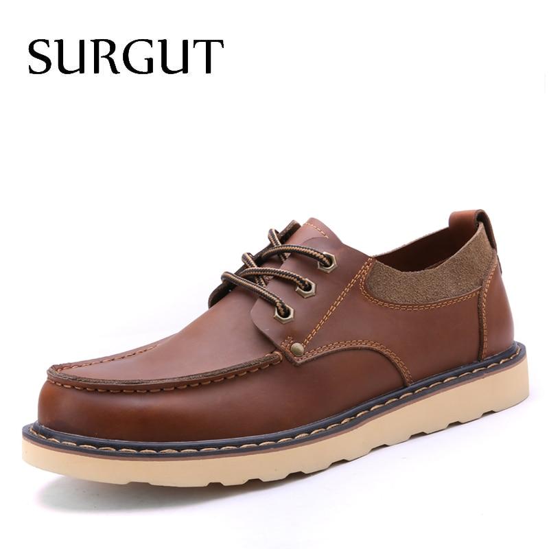SURGUT 2019 Hot Sale Men's Shoes Genuine Leather Design Summer Breathable Shoes Spring Autumn Working Shoes Men Casual Shoes
