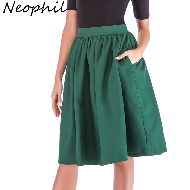 Neophi 2019 Winter Pleated Pockets Women Midi Skirts High Waist XXL Vintage Style Black Red Ladies Skater Skirt Longa Saia S1111