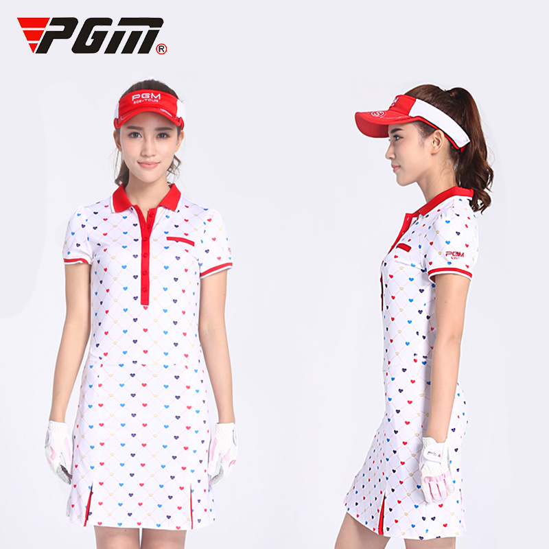 Pgm Women Golf Dress Elastic Slim Printed Golf Skirt Lady Breathable Cotton Sport Dress Woman Quick Dry Tennis Sportswear D0372 refreshing pink skull printed elastic pleated dress for women