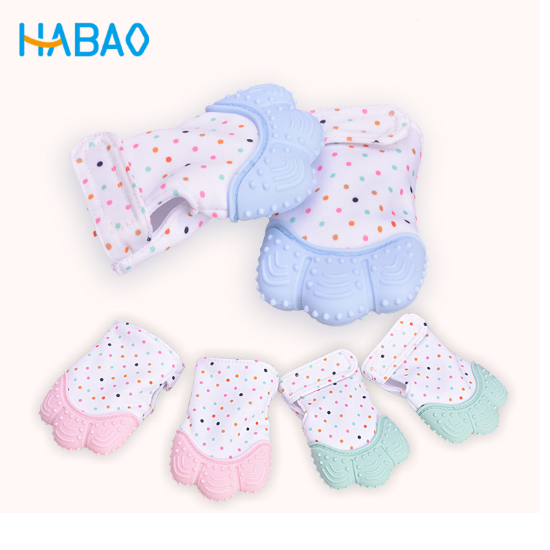 Baby Care Silicone Teethers Molar Gloves Sound Baby Teether Pacifier Glove Baby Teething Chewable Newborn Nursing Mittens Infant
