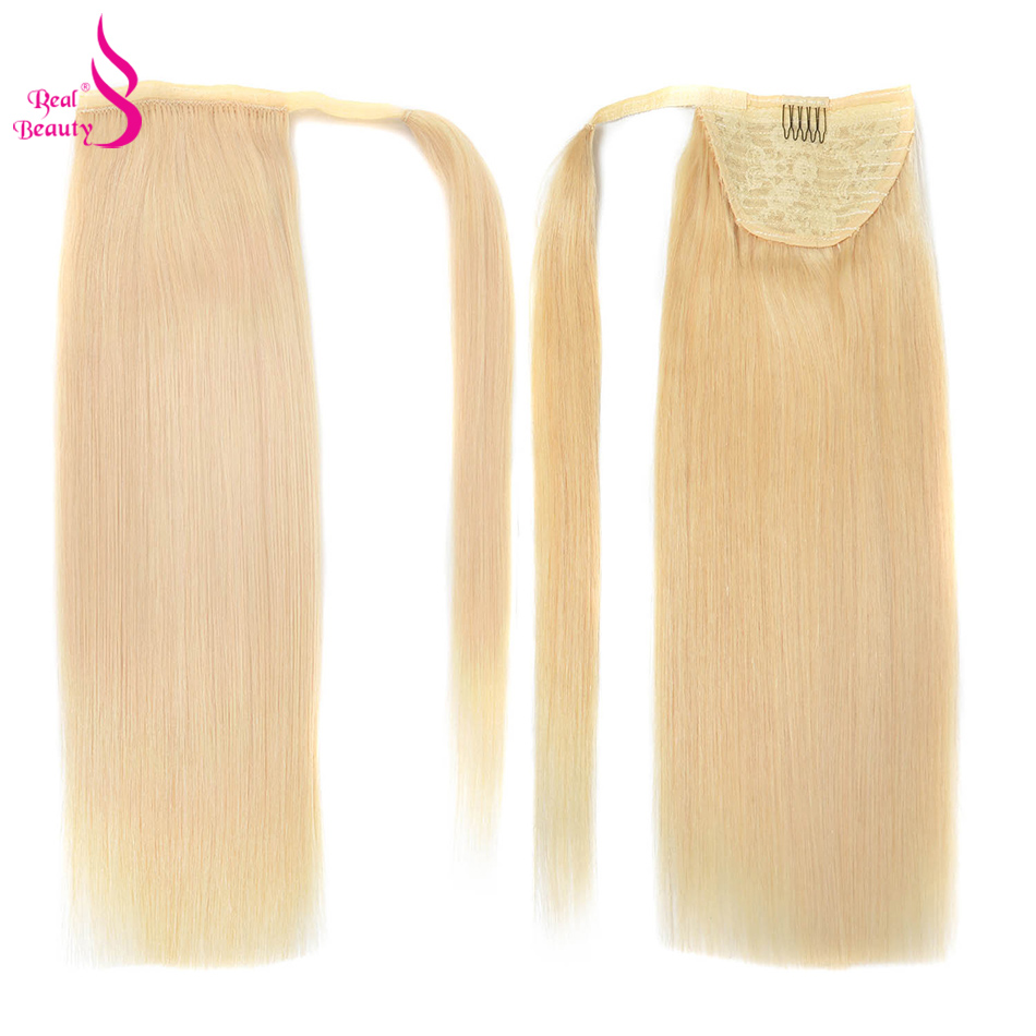 Real Beauty 120g Straight Ponytail Remy Hair Brazilian Ribbon Ponytail Clips-in Human Hair Extensions Horsetail Machine Made(China)