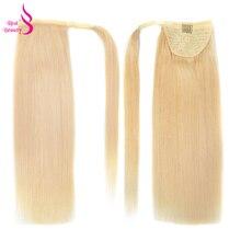 Настоящая красота 120 г прямые волосы конский хвост remy бразильские ленты зажимы для волос-в человеческие волосы для наращивания конский хвост машина
