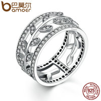 BAMOER Genuine 100 925 Sterling Silver Vivid Tree Leaves DIY 2 Pcs Finger Ring Women Fashion
