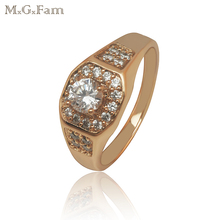 MGFam Модные кольца для мужчин золотого цвета AAA+ искусственный циркон высокого качества