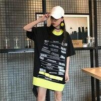 الصيف 2017 جديد الكورية الرياح الأسود الحروف المطبوعة فضفاض عدم انتظام قطع فستان بأكمام قصيرة النساء ZCSLK-K