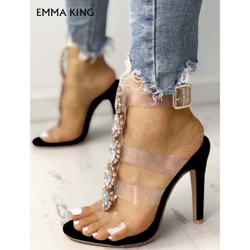 Sandalias de tacón con adornos brillantes con correa transparente a la moda para mujer zapatos de lujo para mujer - 5