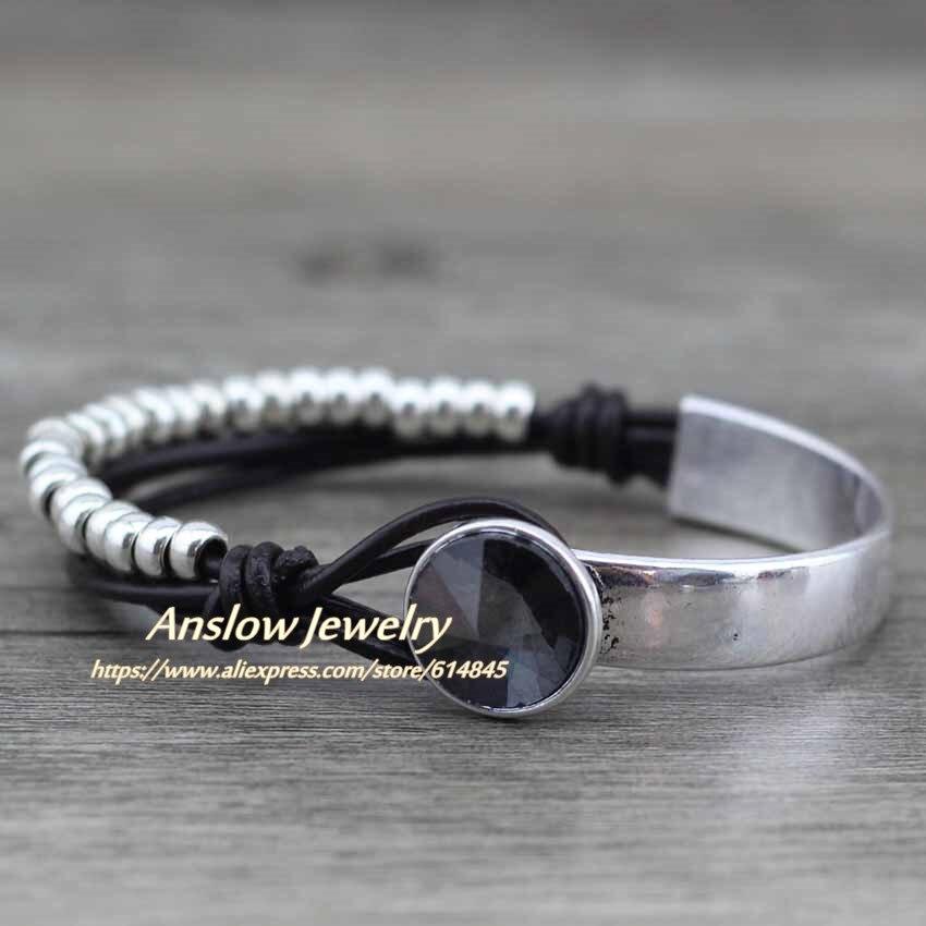 Anslow New Design Modeschmuck Echtes Leder Wrap Vintage Retro Perlen - Modeschmuck - Foto 4