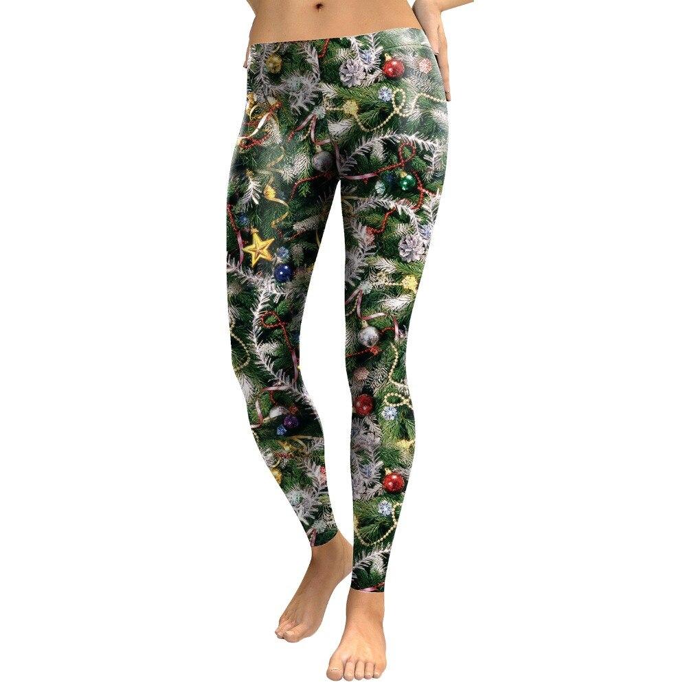 VIP FASHION Gothic Women's Leggins Ugly Christmas Leggings Plus Size 3D Printed Festival Snowflake Winter Leggings For Fitness